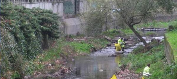 La Confederación Miño-Sil limpia de residuos en el tramo de la feria del río Barbaña
