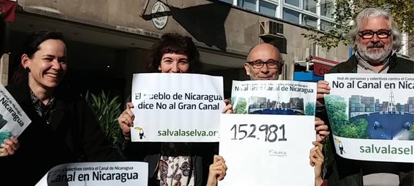 Más de 120.000 firmas contra la construcción del canal de Nicaragua