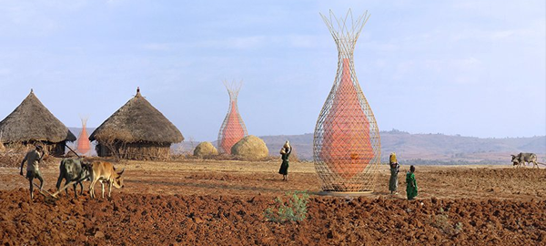 Inventan una torre de bambú para recolectar agua
