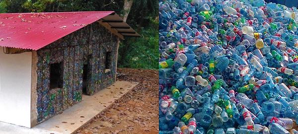 Una aldea construida con botellas de plástico