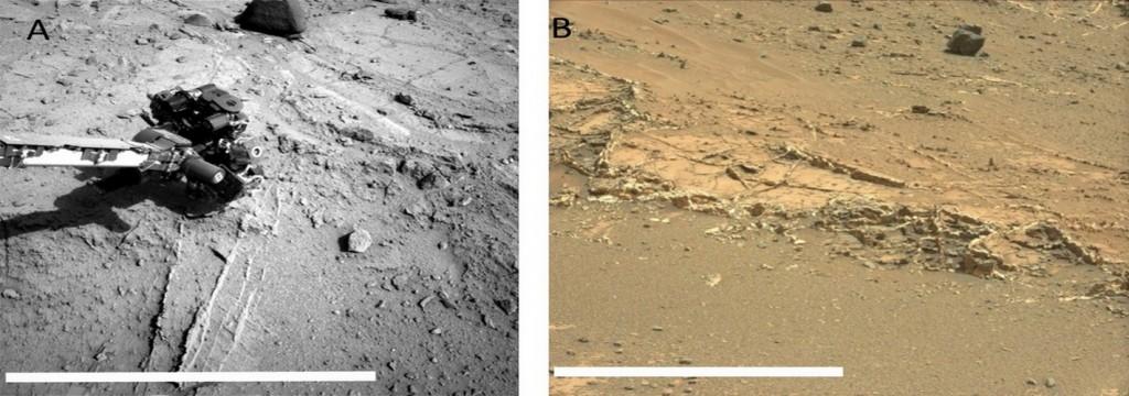Descubren vetas minerales procedentes de la evaporación de lagos en Marte