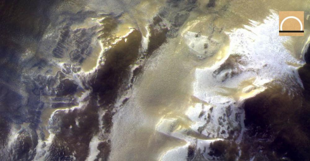 El hielo en las primeras imágenes de cerca de la superficie de Marte