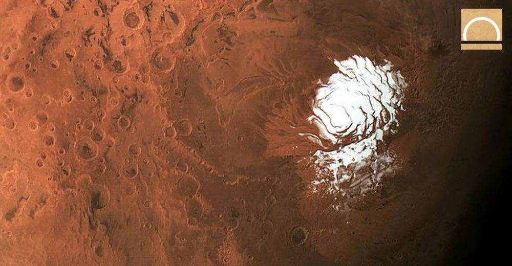 Descubrieron un lago de agua bajo el hielo de Marte