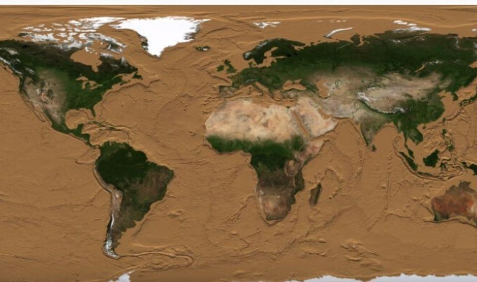 La Tierra sin océanos es…